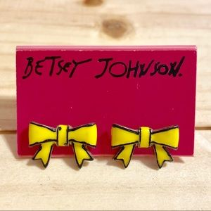Betsey Johnson Yellow Bow Earrings
